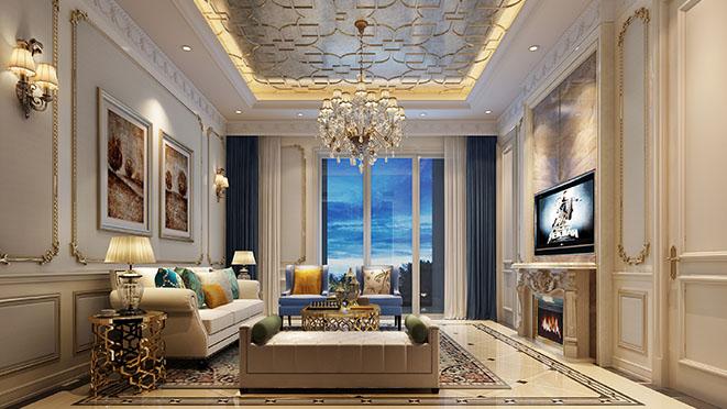 东方鸿景园别墅客厅装修设计效果图