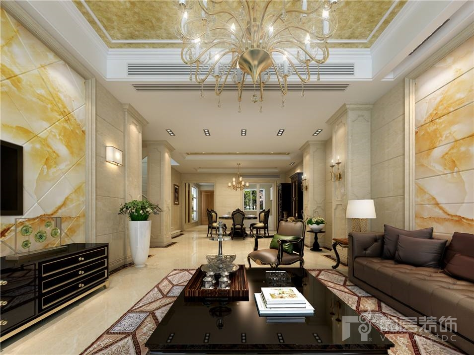 花都艺墅欧式风格260平米别墅装修设计案例_效果图_图
