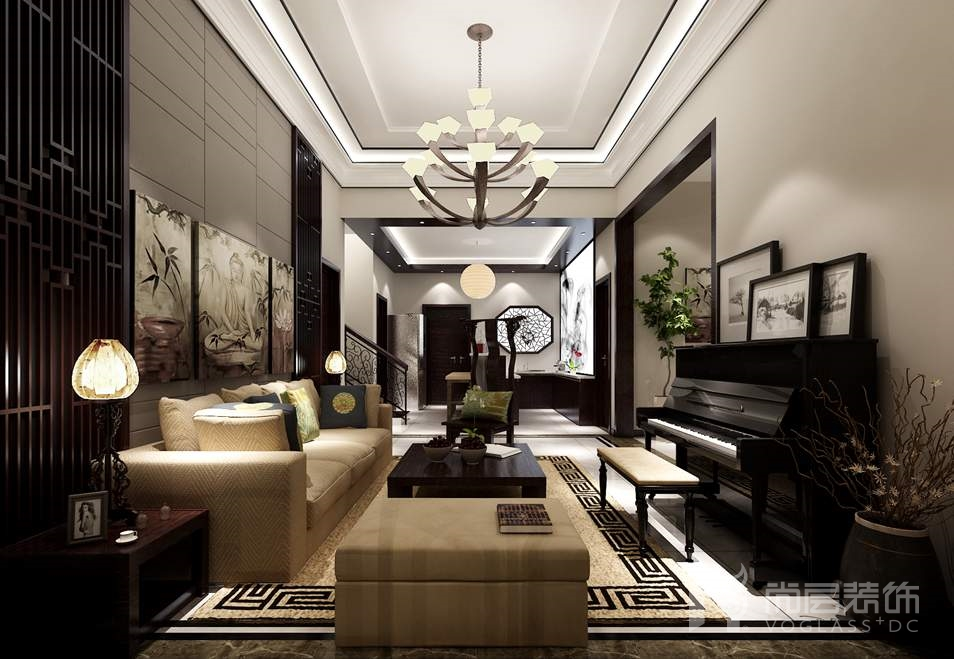 金科王府新中式起居室别墅装修效果图