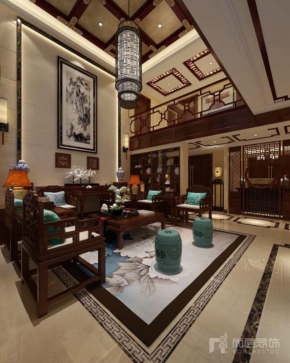卡尔生活馆中式客厅别墅装修效果图