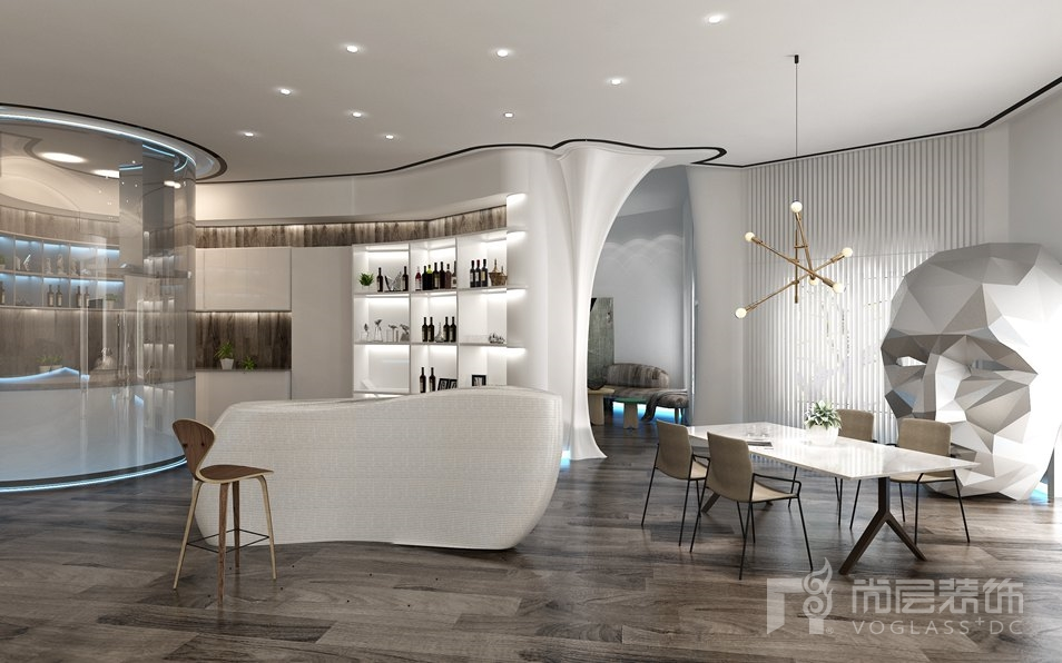 碧水庄园科技风格餐厅别墅装修效果图