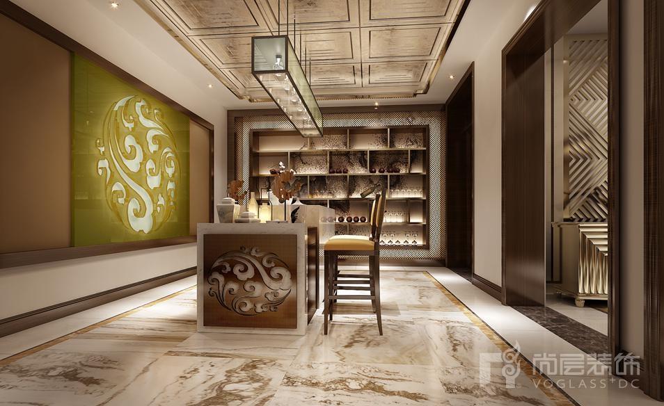艾力枫社新中式吧台别墅装修效果图