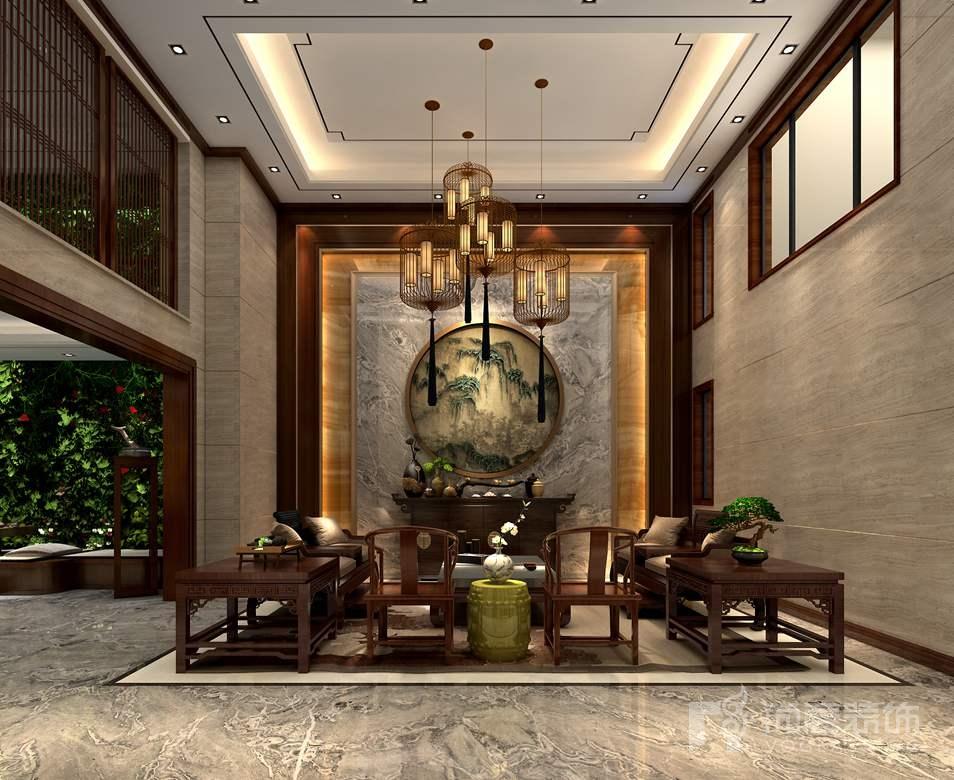 首开琅樾新中式会客厅别墅装修效果图