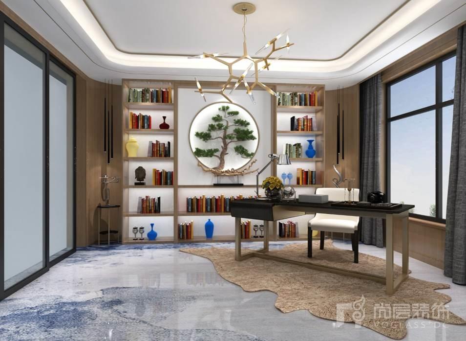 棕榈滩中式书房别墅装修效果图