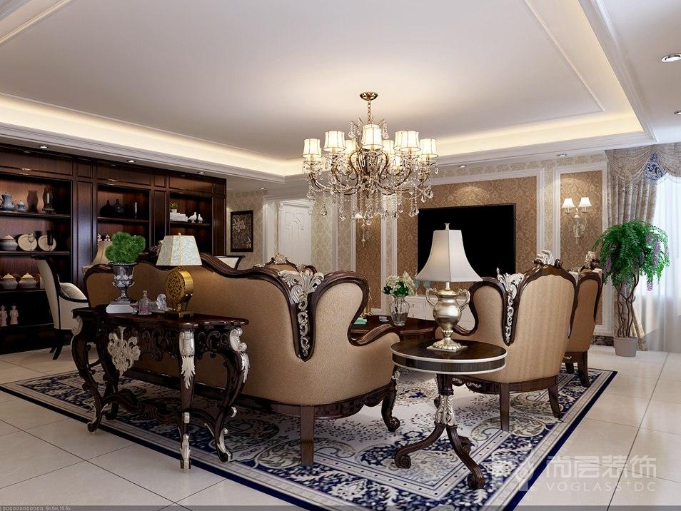 北辰香麓美式客厅别墅装修效果图