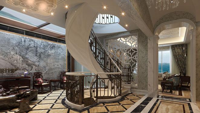 中海紫御豪庭楼梯厅设计