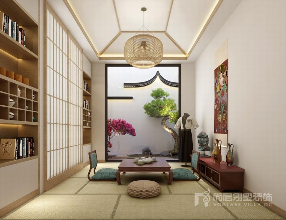 新中式榻榻米茶室设计效果图