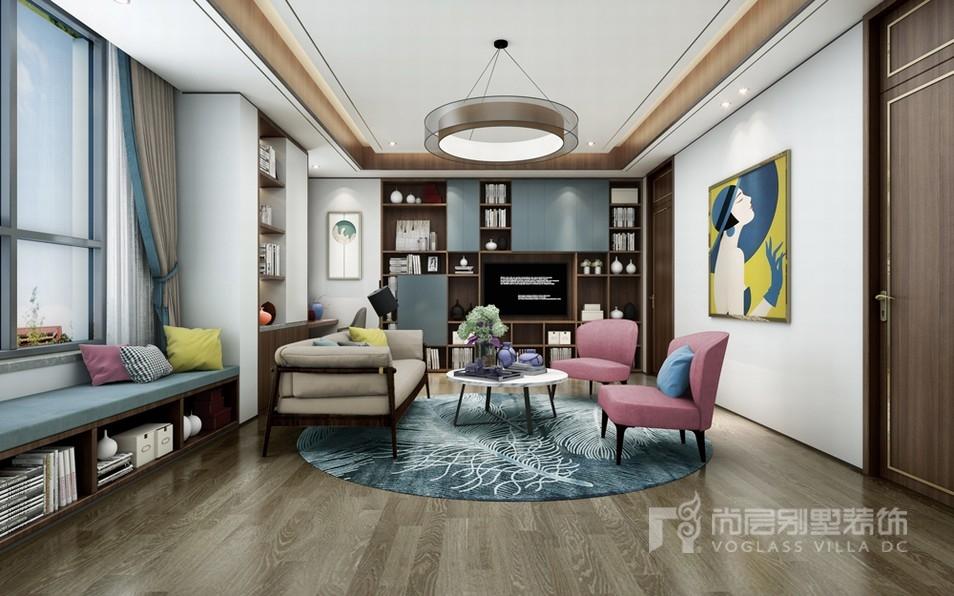 现代新中式起居室设计效果图