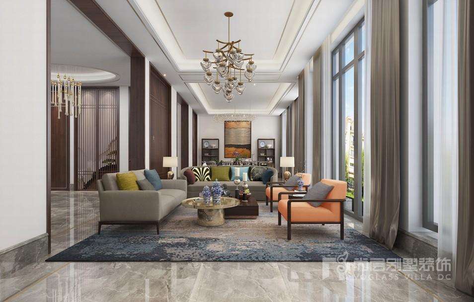 现代新中式客厅设计效果图