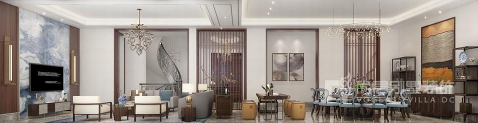 现代新中式客餐厅设计效果图