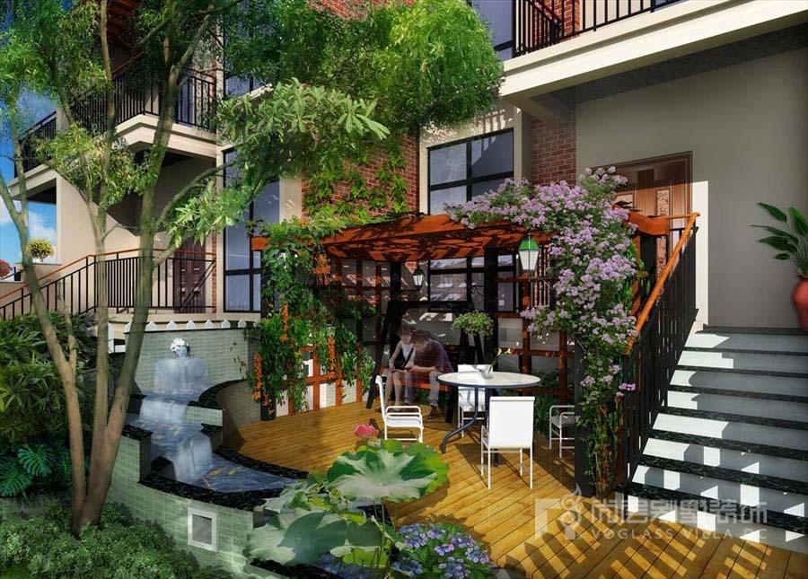4款实用的联排别墅庭院设计效果图赏析