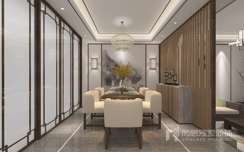 专业的影音空间是一个别墅设计必不缺少的一部分。一家三口人都爱看大片,喜欢一家人在一起享受一部大片。在本案例340平米的别墅大空间设计当中,设计师延续整个室内空间的新中式风格装修格调,投影背景几层灯光的设计展现出高档影院氛围。 新中式风格与纯中式风格相比,更加受广大业主的青睐,我想是因为它不仅继承了中国传统文化的美,更兼容并蓄了现代的简洁美,这才是新中式风格的别墅装修中,中国取其精华弃其糟粕的精髓所在。
