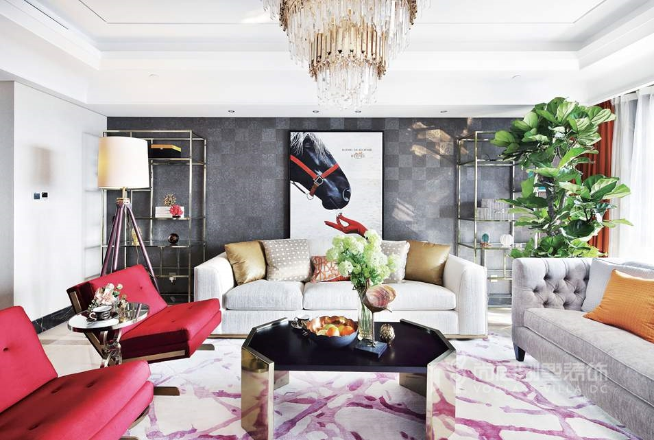 别墅设计案例客厅实景图