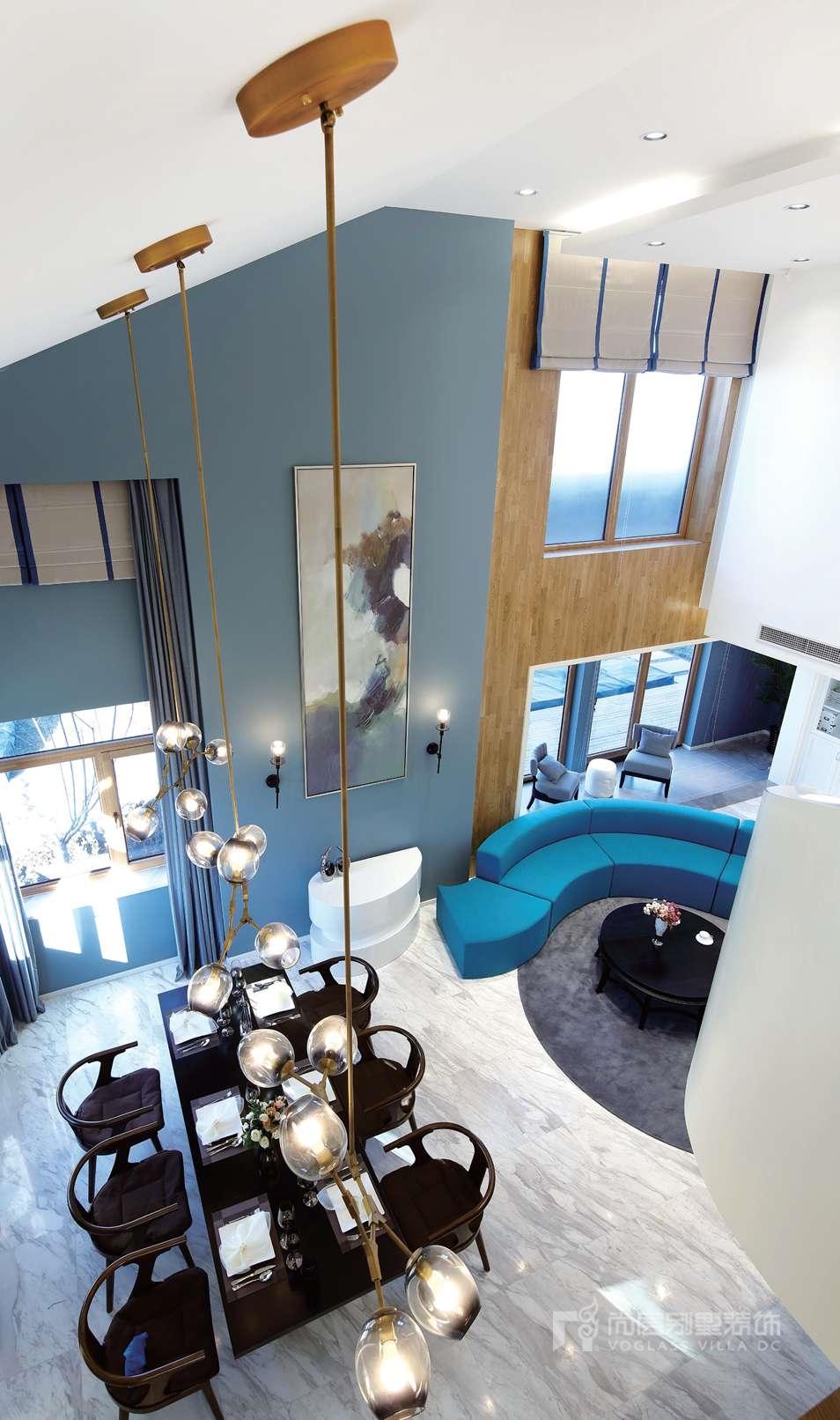 尚层装饰别墅设计案例-客厅实景图