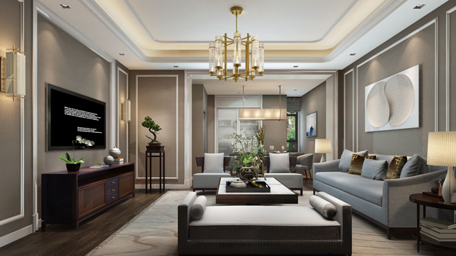 新弘墅园客厅装修效果图