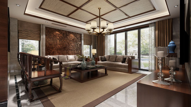 康桥半岛新中式客厅装修效果图