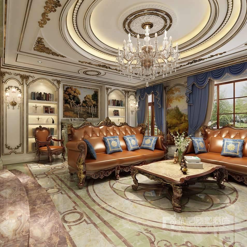 别墅装修案例-客厅效果图