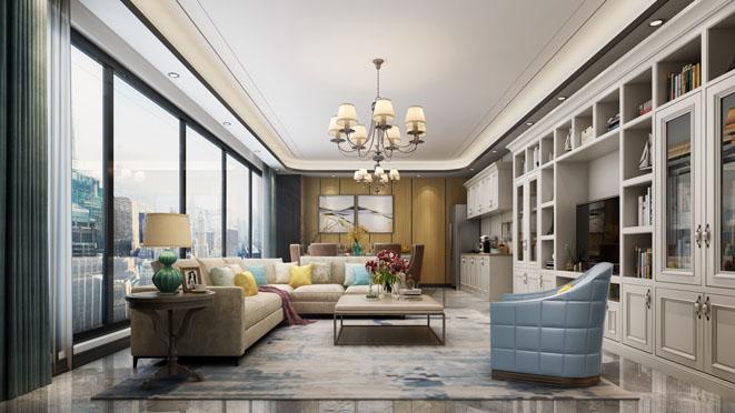 万科翡翠滨江现代美式客厅装修效果图