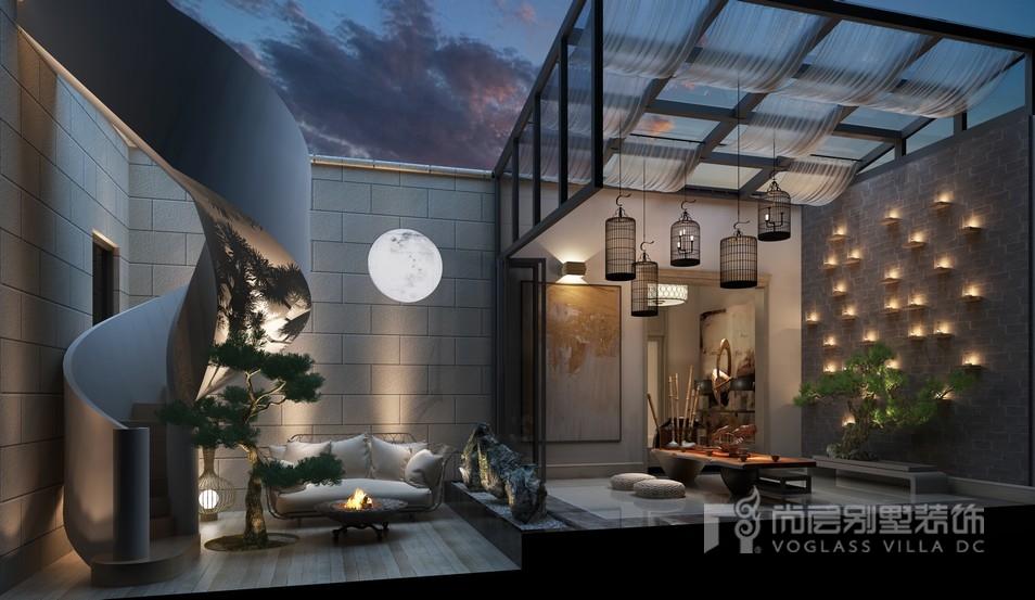 东郊罗兰下沉庭院茶室装修设计效果图