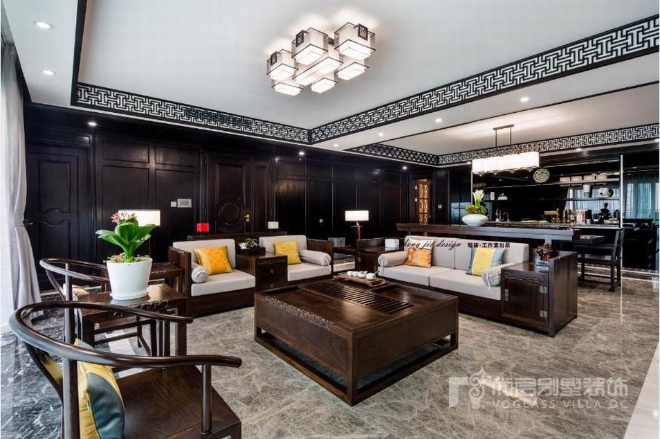 静安豪景苑中式客厅软装完工实景图