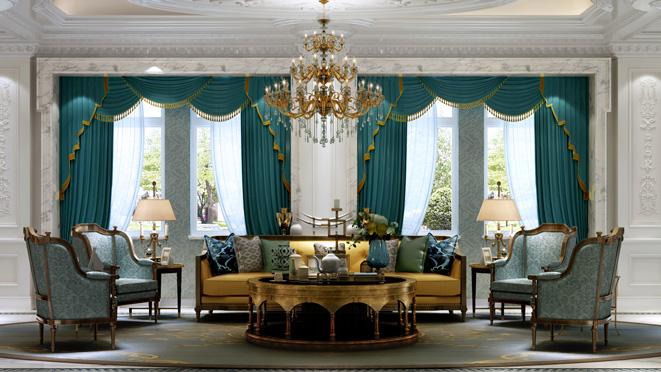 誉品源墅法式客厅设计效果图