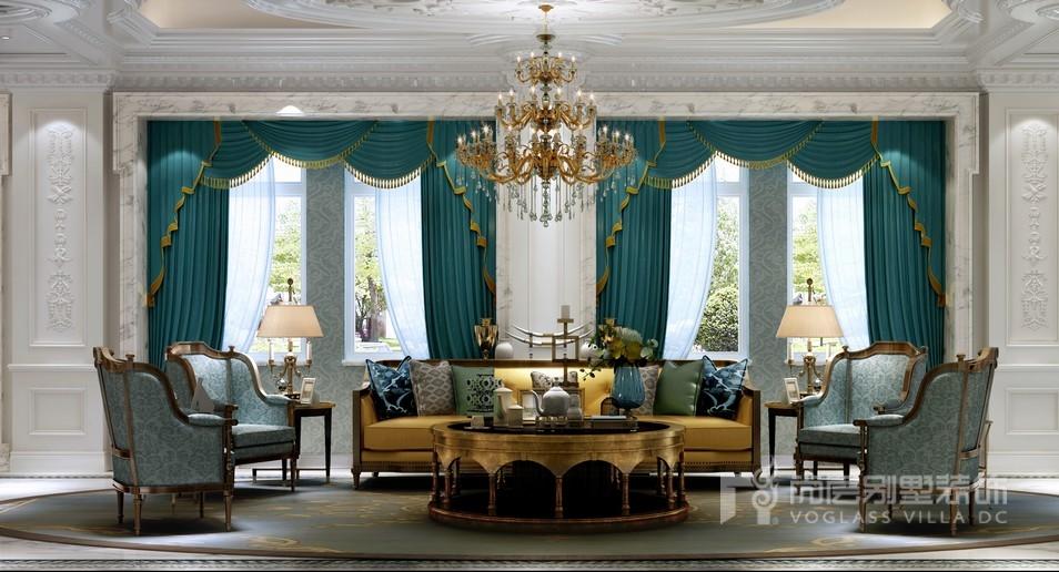 誉品源墅法式风格客厅装修设计效果图