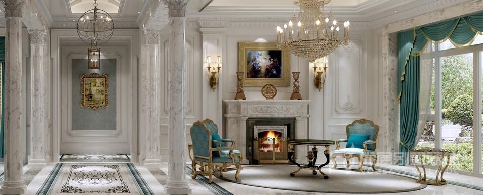 誉品源墅法式风格客厅壁炉设计效果图