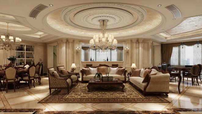 东郊半岛欧式客厅装修设计效果图