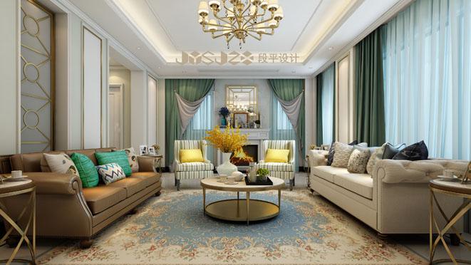 四季御庭美式风格客厅装修效果图