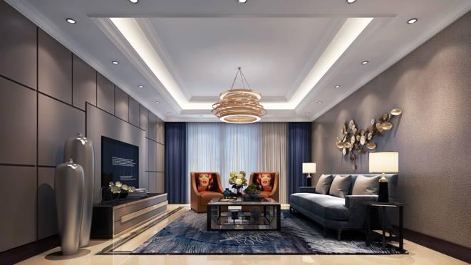 上河灣現代輕奢客廳裝修設計效果圖