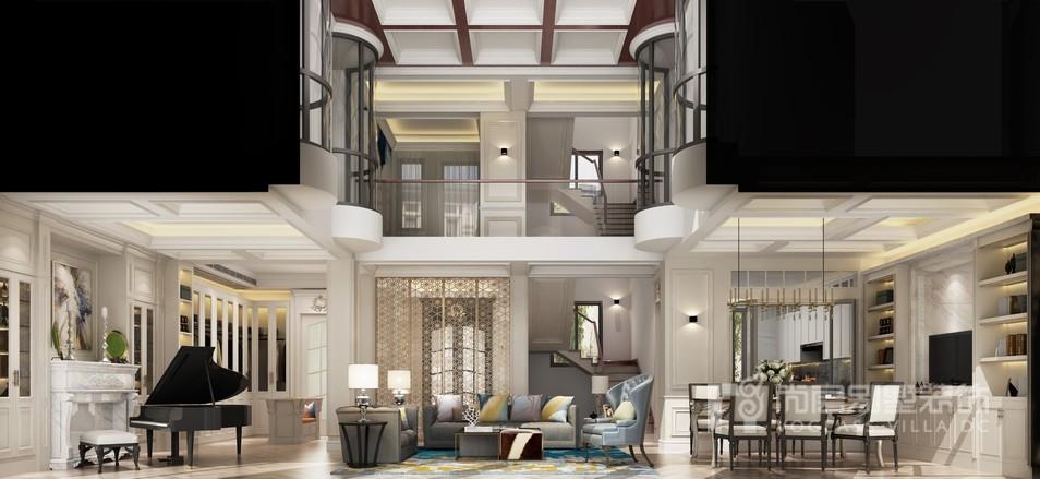 阳光城花满墅简欧风格客厅装修设计效果图