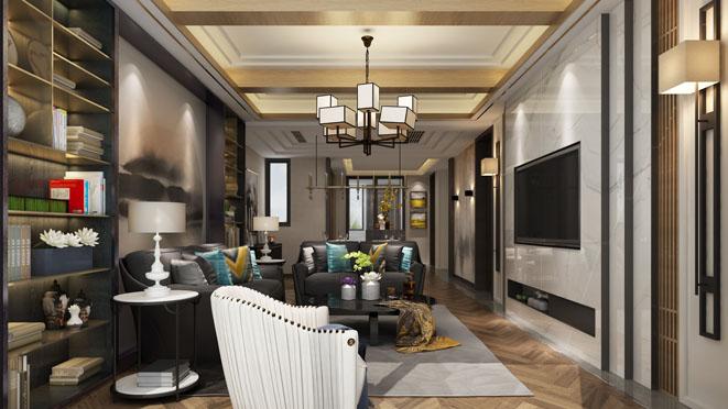 泰禾红御客厅装修设计效果图