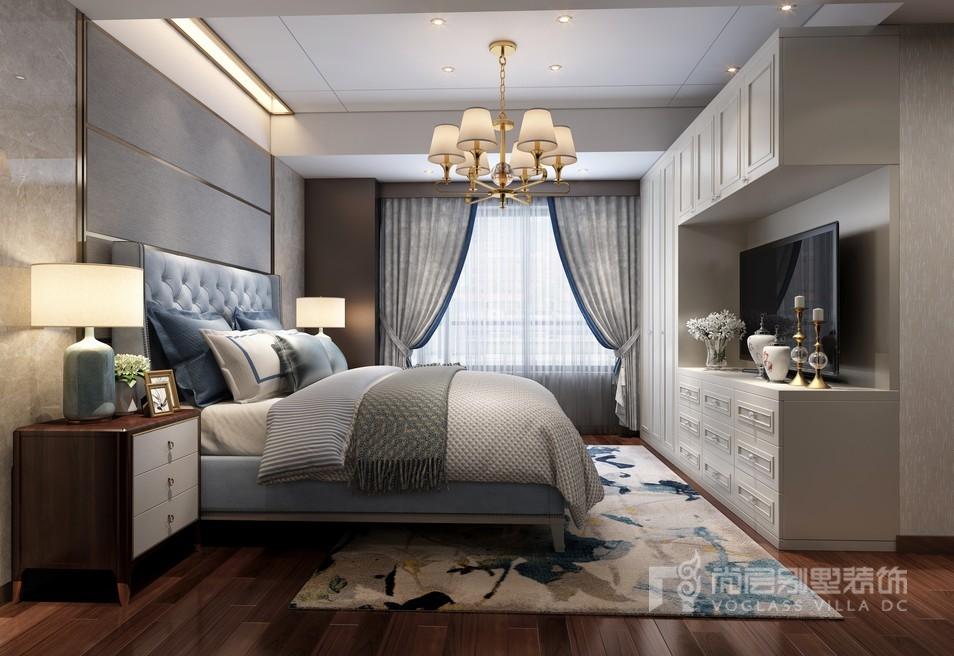 万科翡翠滨江现代美式卧室装修效果图