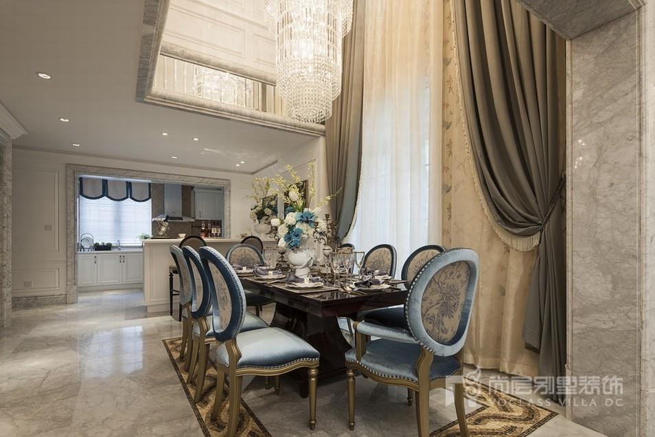 现代法式别墅餐厅装修效果图