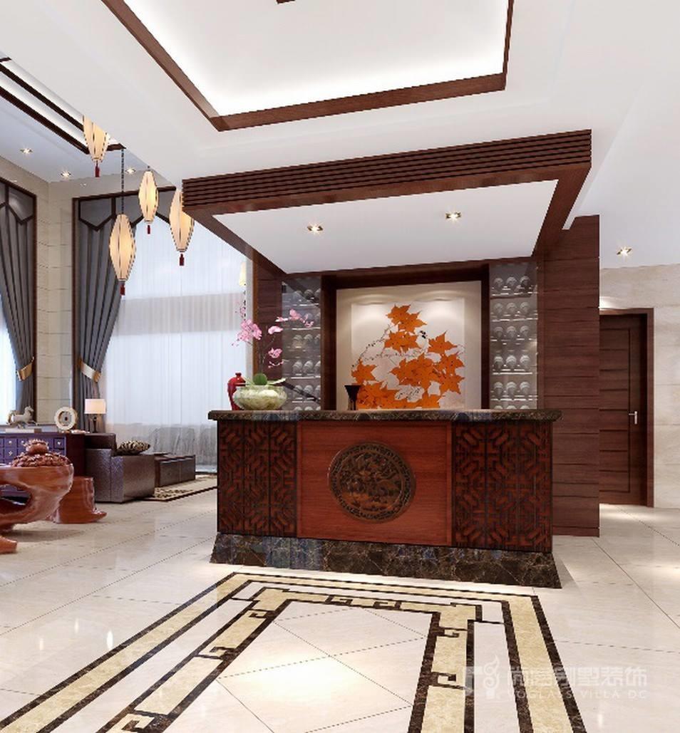 新中式风格别墅门厅装修设计效果图