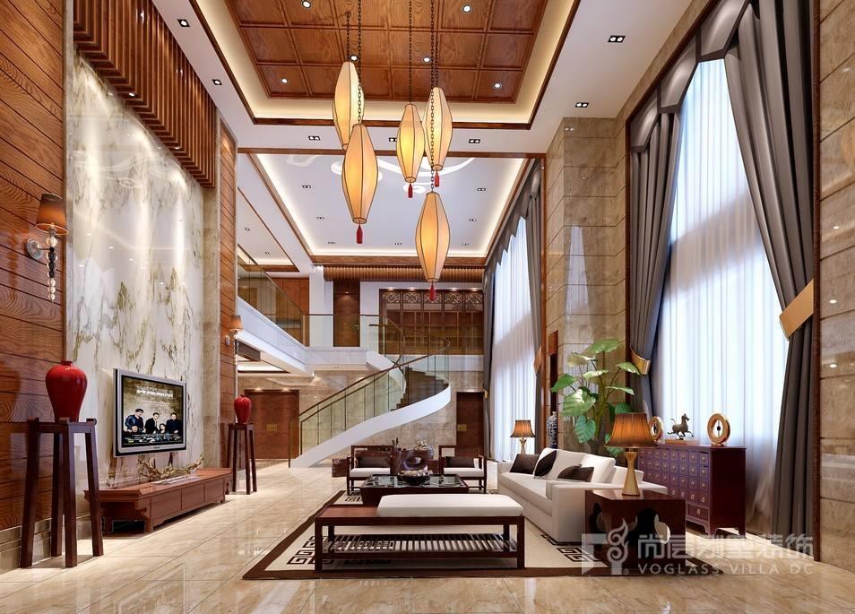 新中式风格别墅客厅装修设计效果图