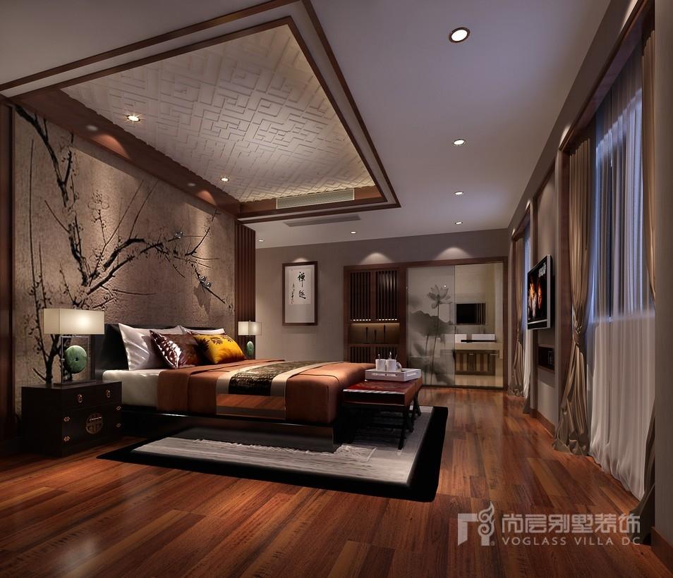 新中式风格别墅卧室装修设计效果图