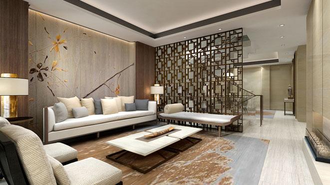 合院别墅新中式风格客厅装修设计效果图