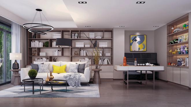 天和湖滨简约风格别墅客厅装修设计效果图