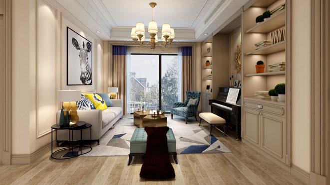 三湘海尚简约美式客厅装修设计效果图