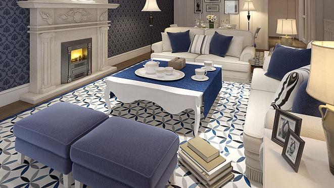 地中海风格别墅客厅装修设计效果图