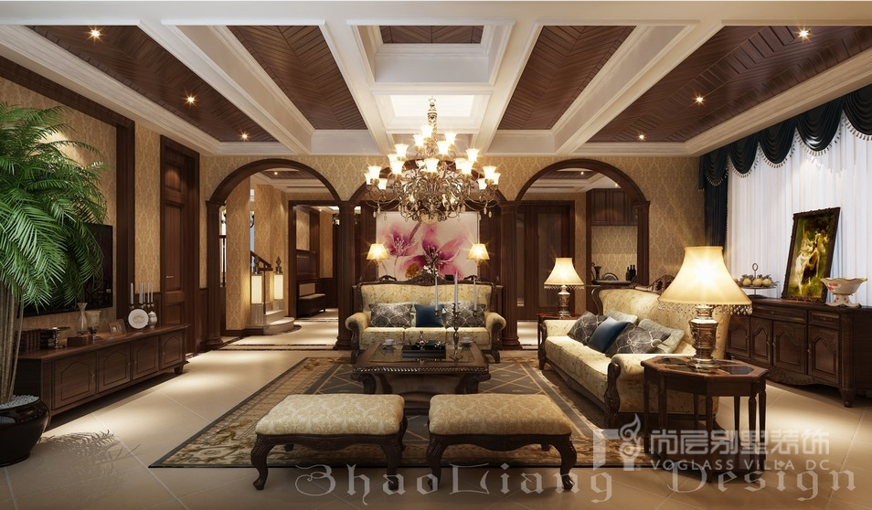 月湖山庄新古典风格别墅客厅装修设计效果图
