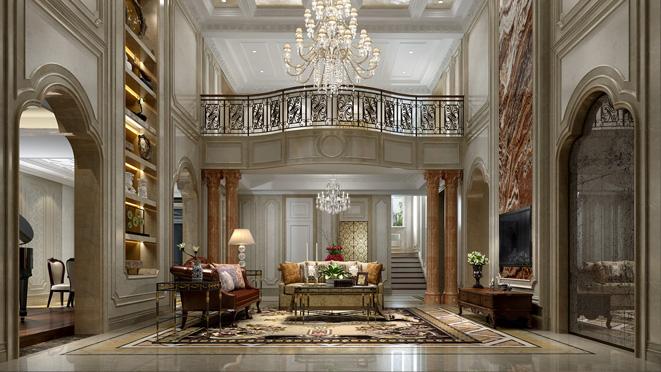 欧式混搭风格别墅客厅装修设计效果图