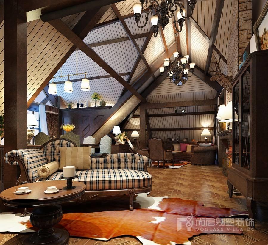 美式风格别墅阁楼装修设计效果图