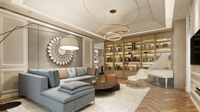 180平混搭风格客厅装修设计效果图