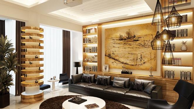 后现代风格别墅客厅装修设计效果图