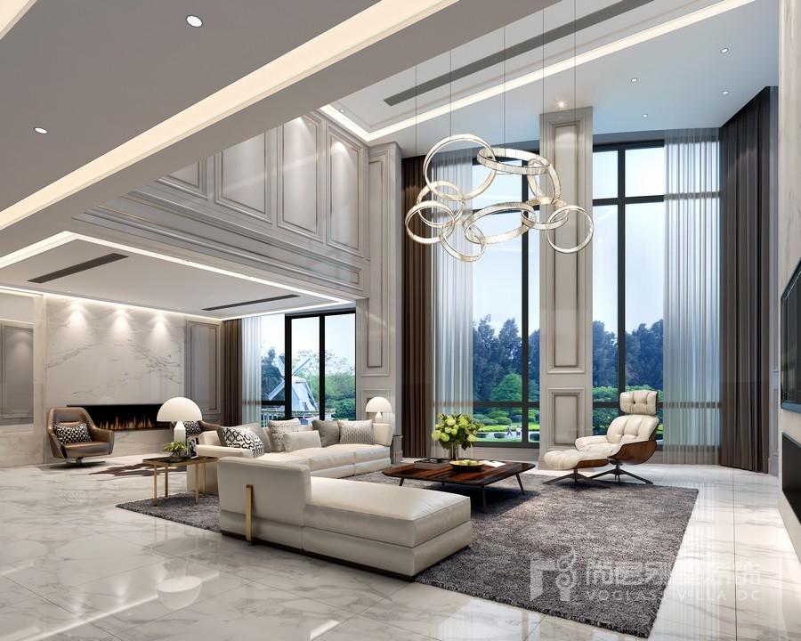 几款现代简约风格的别墅客厅装修效果图,极简极净