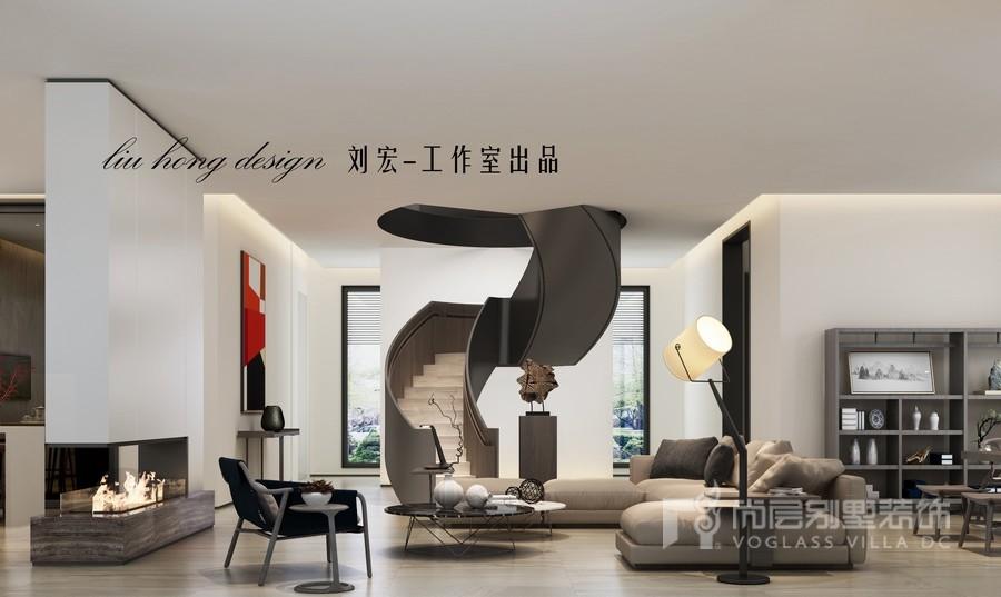 现代简约高级灰别墅客厅装修设计
