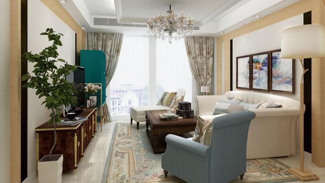 美式混搭风格客厅装修设计效果图