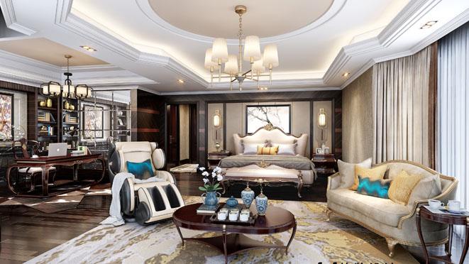 中式轻奢风格主卧室装修设计效果图